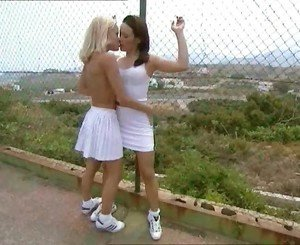 Cute Shaved Lesbians Jo & Ella Make Out After Tennis