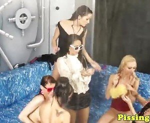 Goldenshower fetish dykes enjoy wam group fun