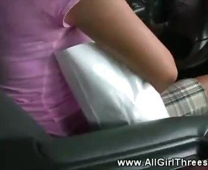 Sexy teens in car getting hot with each other