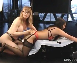 Nina Hartley and Mika Tan, strapon teacher