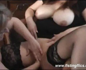BBW lesbian double fisted in her huge pussy