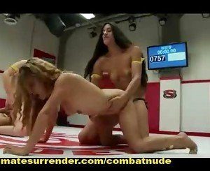 Tag Team nude match with group Lesbian Dominant sex