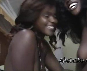 Luscious ebony lesbian couple share hot passionate fuck