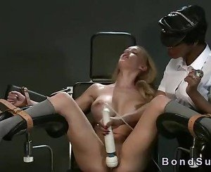 Busty white blonde in interracial femdom vibrated