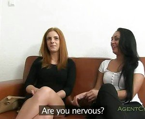 Two girlfriends fucked on casting