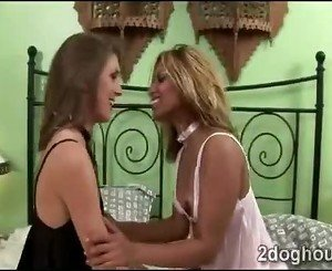 Pillow fight makes 2 beautiful interracial babes go horny