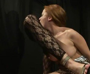 Lezdom fingers slave after spanking her