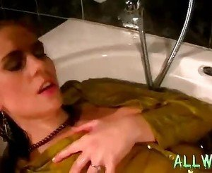 2 babes fully clothed bathing