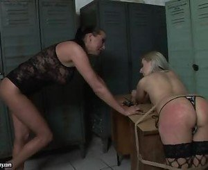 Mandy Bright Touching The Blonde Dearie Near Her Whip