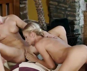 Cute Blonde And Brunette Lesbias Fingering And Licking Twat And Having Lesbo Sex